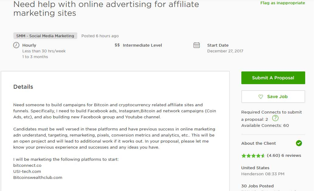 Upwork Cover Letter Sample for Affiliate Marketing & Amazon