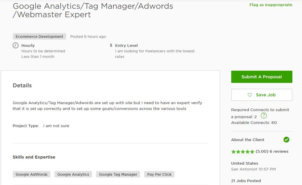 Upwork Cover Letter Sample for AdWords, Analytics and Search Console