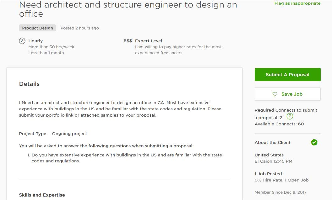 Upwork Cover Letter Sample for Engineering Design/ Architectural Design