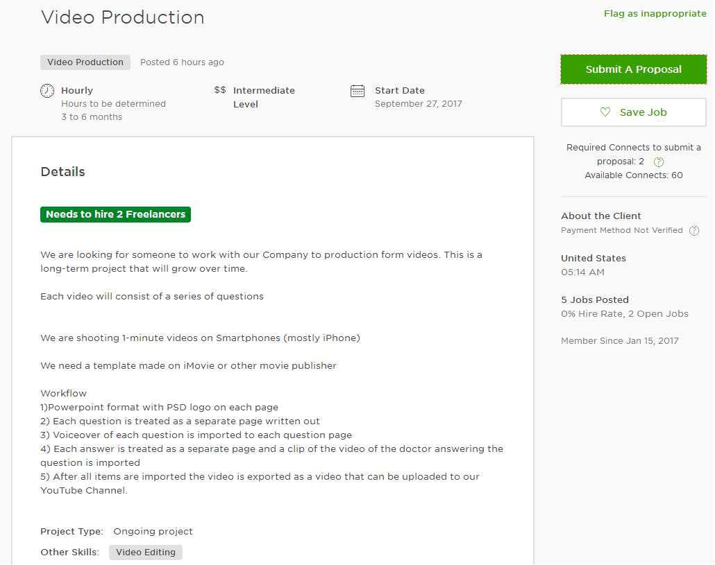 Upwork Cover Letter Sample for YouTube Video Marketing