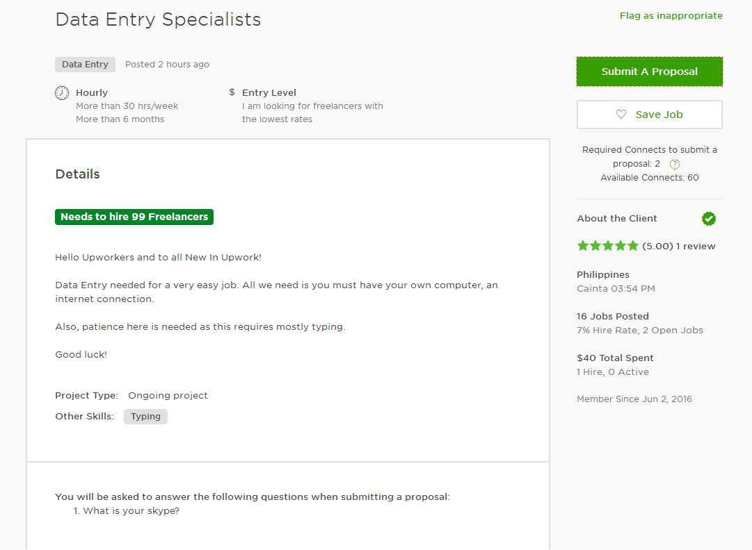 Upwork Cover Letter Sample for Data Entry