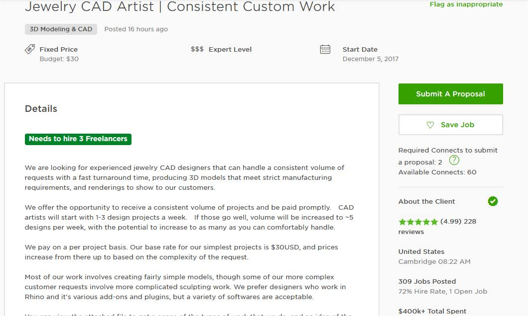 Upwork Cover Letter Sample for 3D Modeling Design and CAD