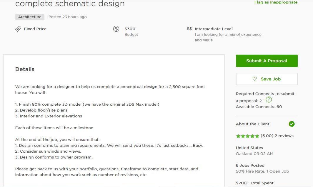 Upwork Cover Letter Sample for Interior Design