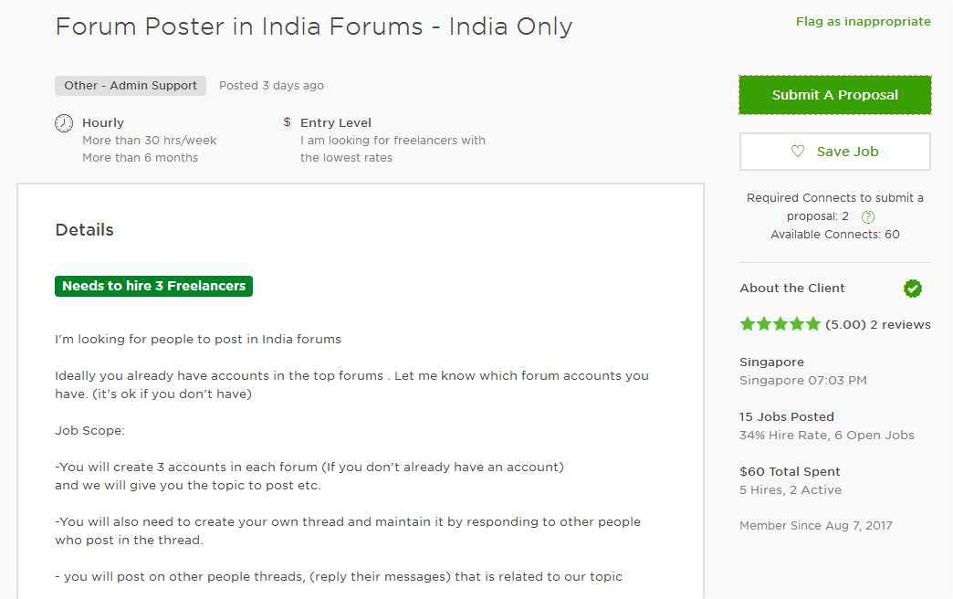Upwork Cover Letter Sample for Forum Posting