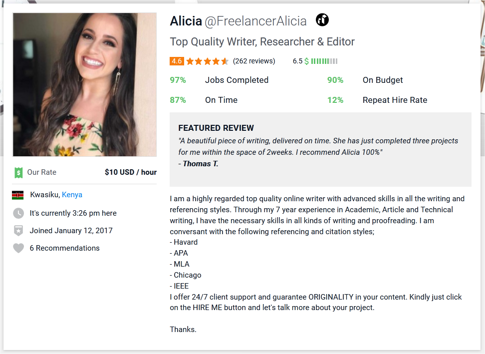 Article Writer Profile Summary Sample for Freelancer