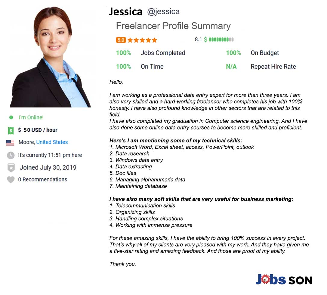 Freelancer Profile Summary Sample & Example