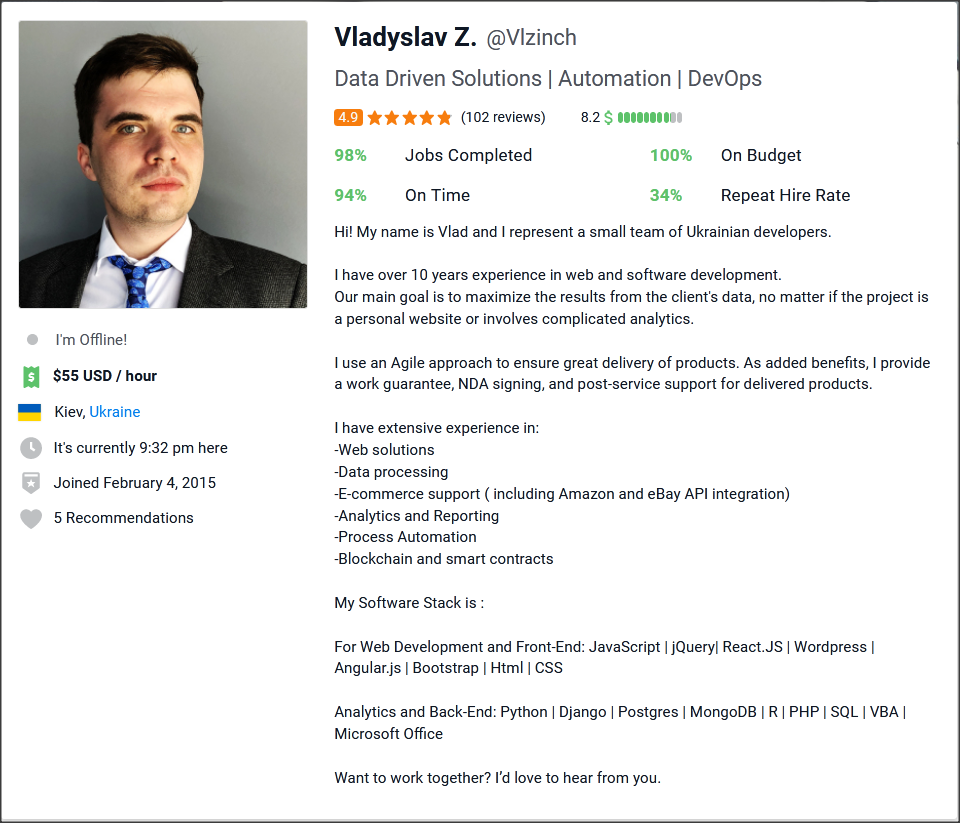Freelancer Profile Summary Sample for Data Entry