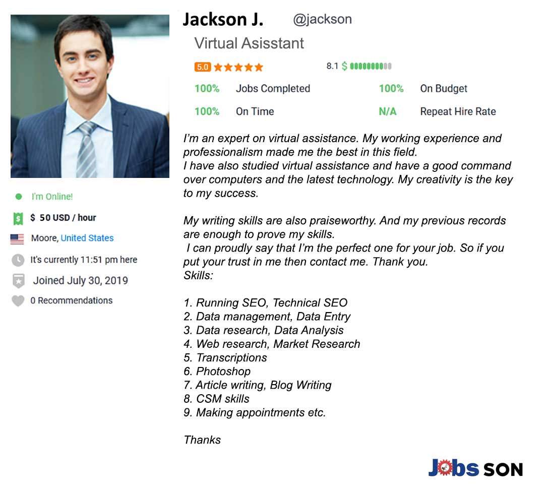 Freelancer Profile Summary Sample Virtual Assistant