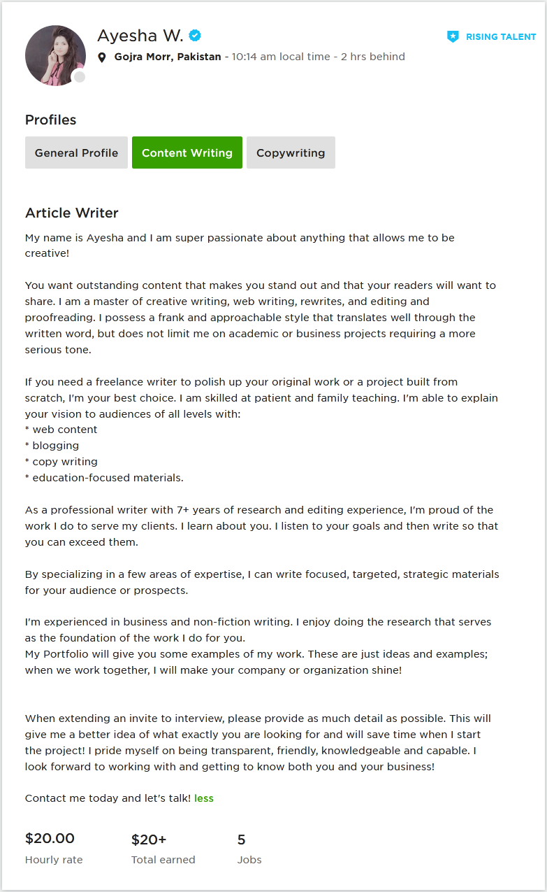 Professional Overview for Upwork Article Writer