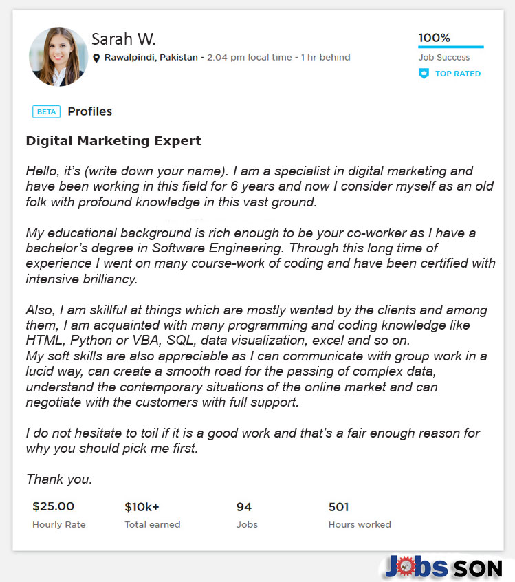 Upwork Profile Overview Sample for Digital Marketing
