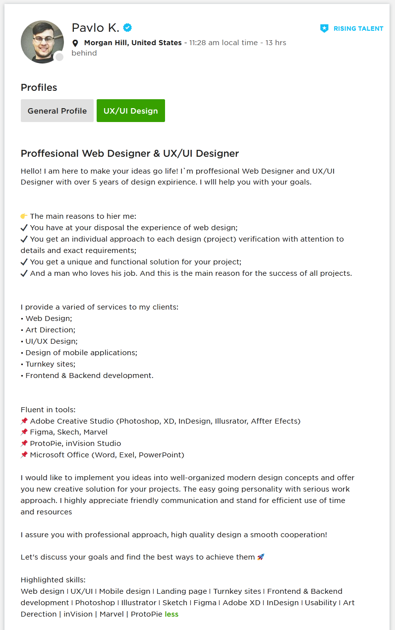 Upwork Profile Overview Sample for UI & UX Designer