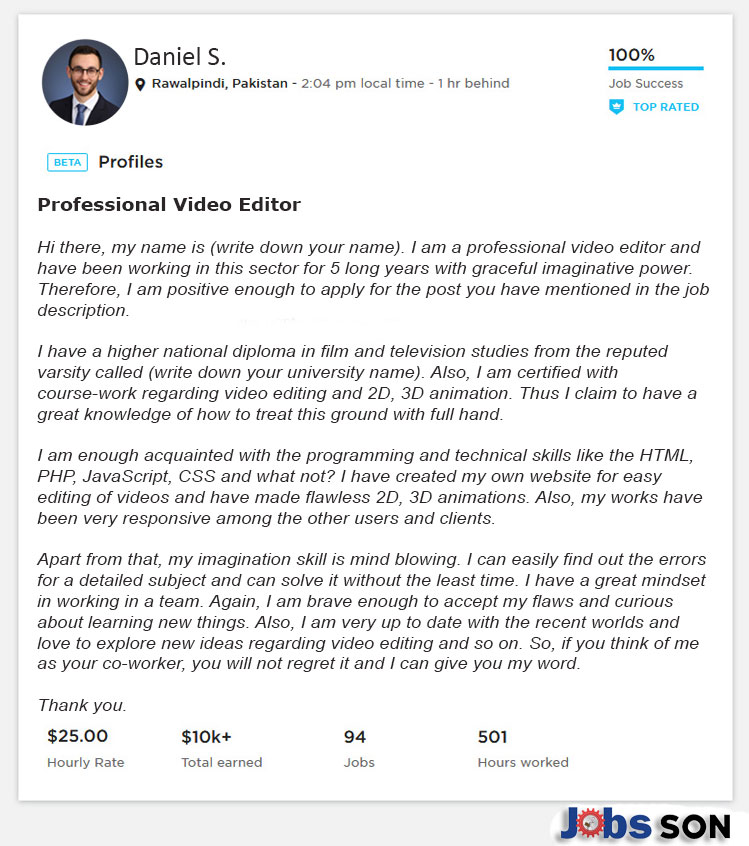 Upwork Profile Overview Sample for Video Editor
