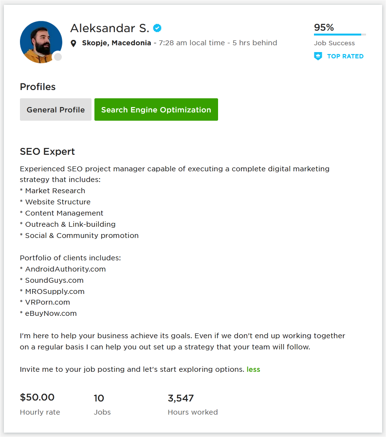 Upwork Profile Overview Sample for SEO Expert