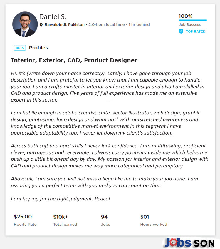 Upwork Profile Overview for Interior Design